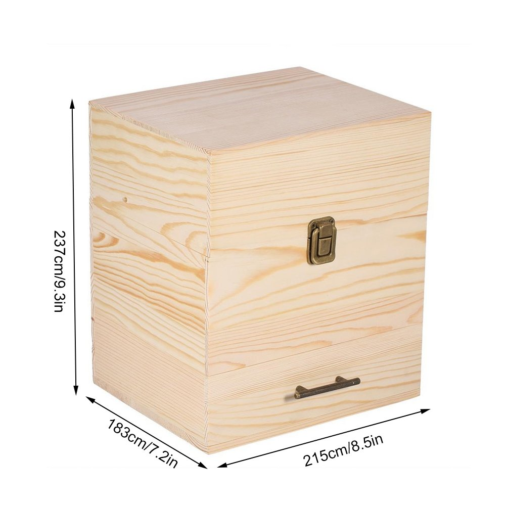 Zerone /Ätherische /Öle Box,Holz Hochwertige 3-lagige /Ölbox Multifunktionale Aufbewahrungsbox /Ätherische /Ölflaschenbox 58-Fach Aufbewahrungsbox Tragbare /Ölbox /Ölflaschen Aufbewahrungsbox Holzfach