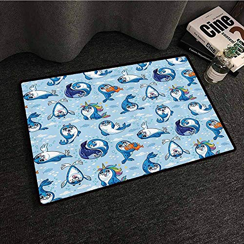 Sea Animals Decor Printed Door mat Seal Pup Cartoon Aquatic Wildlife Friendly Hugging Water Bubbles for Kids Super Absorbent mud W35 xL59