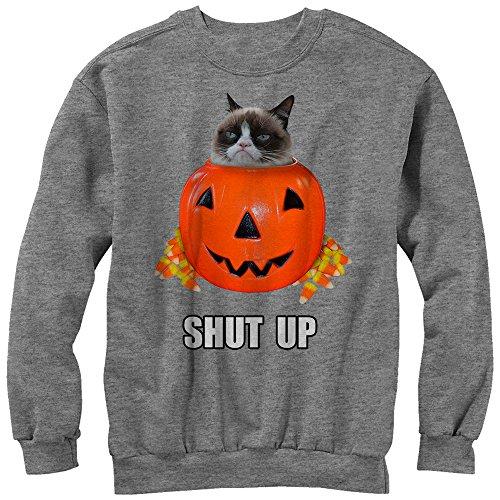 Grumpy Cat Men's Halloween Candy Shut Up Athletic Heather Sweatshirt ()