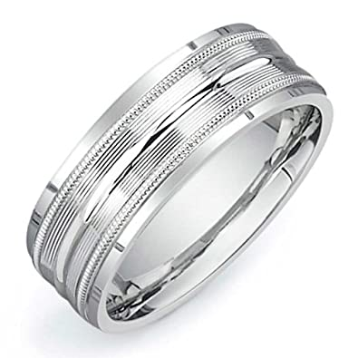 Platinum Center Groove Mens Comfort Fit Wedding Band (7.5mm) Size-8.5c1