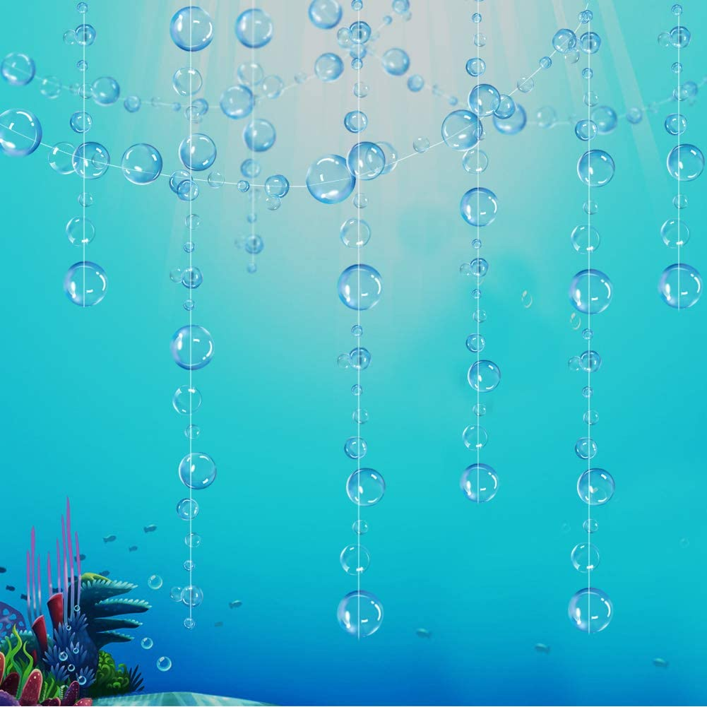 Decor365 Blue Transparent Bubble Garlands for Party Decorations Hanging Floating Bubbles Cutout Streamer Background for Mermaid Under The Sea Birthday Home Kids Room Prom Wedding Baby Shower Decor