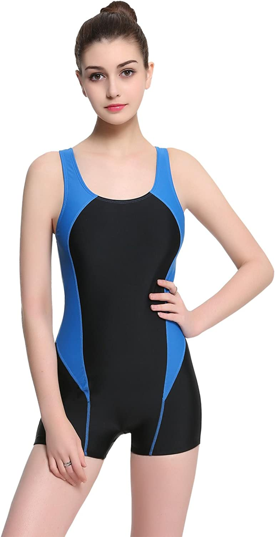 Modeokker Women Swimsuit Swimming Costume One Piece Sport Flat Seams Athletic