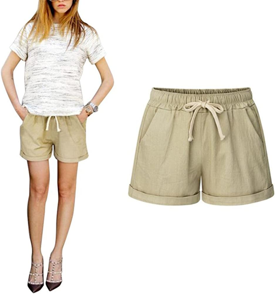 Pantalones Cortos para Mujer, Fashion Color Sólido Cintura Elástico Shorts con Cordón Moda Verano Casual Pantalon Shorts Tallas Grandes