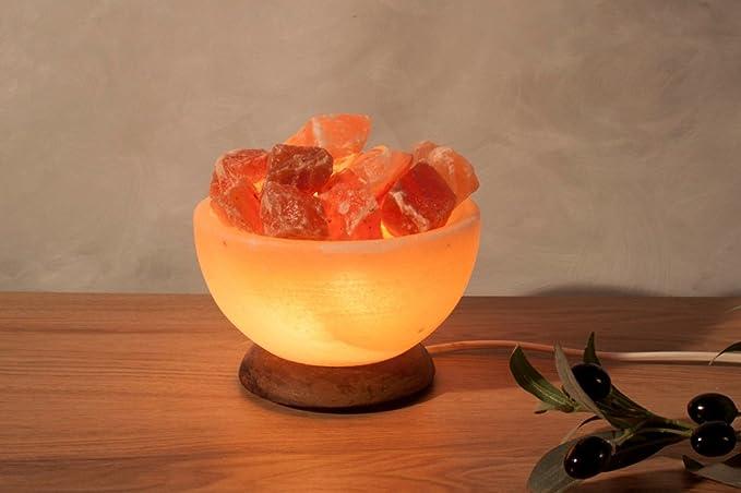 Incluye Cable y Bombilla Himalaya Salt Dreams 4041678002282 iluminada de Sal Cristal Bol Rectangular con Cristales de Sal y Base de Madera