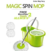 ALLWIN Plastic 360° Spin Floor Cleaning Easy Advance Tech Bucket PVC Mop and Rotating Steel Polehead with 2 Microfiber Refill Head (Any Color Will Be Given as per Stock Availability, Standard Size)