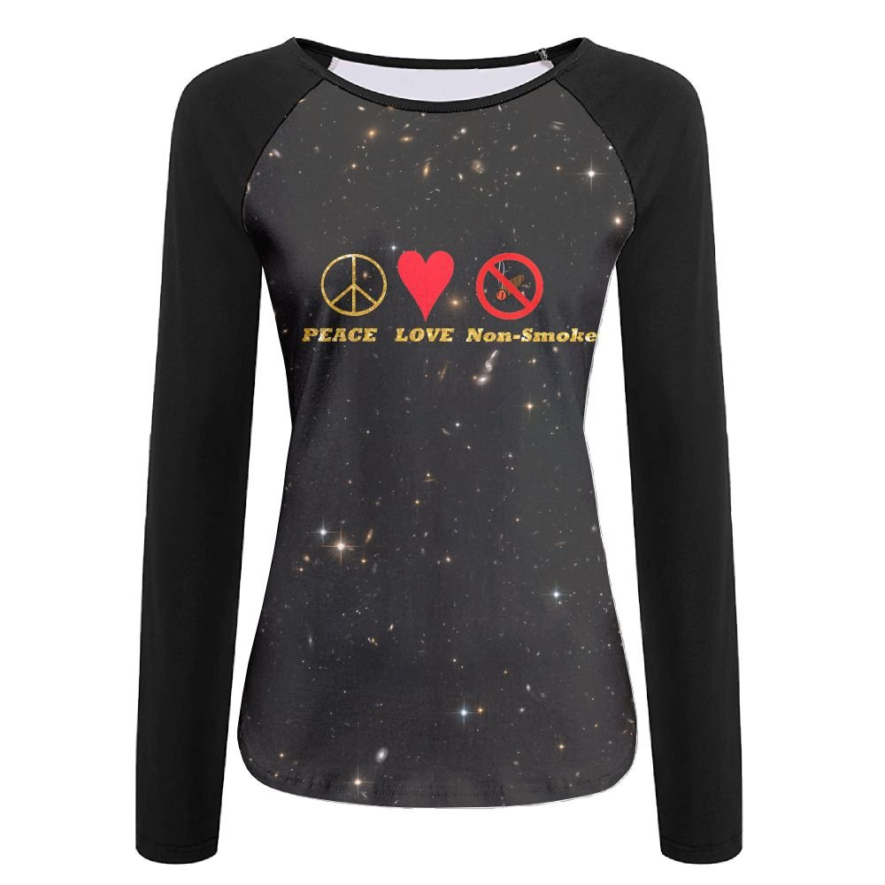HGYK Shirt Gold Glitter Peace Love Non-Smoke Womens Print Crew Neck Long Sleeve Raglan T-Shirt Baseball Tshirt