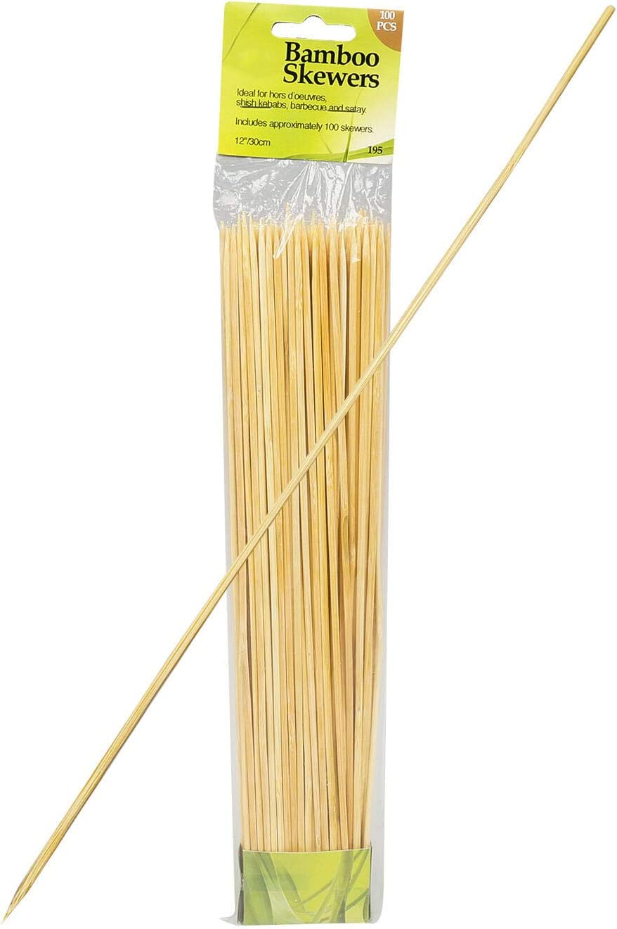 CavanyKitchen 100pc 10inch Bamboo Skewers – Eco-Friendly Perfect Expansion to BBQ Satay Blended Shish Kabobs Safe Way to Grill Roast Without Leaching Harmful Chemicals