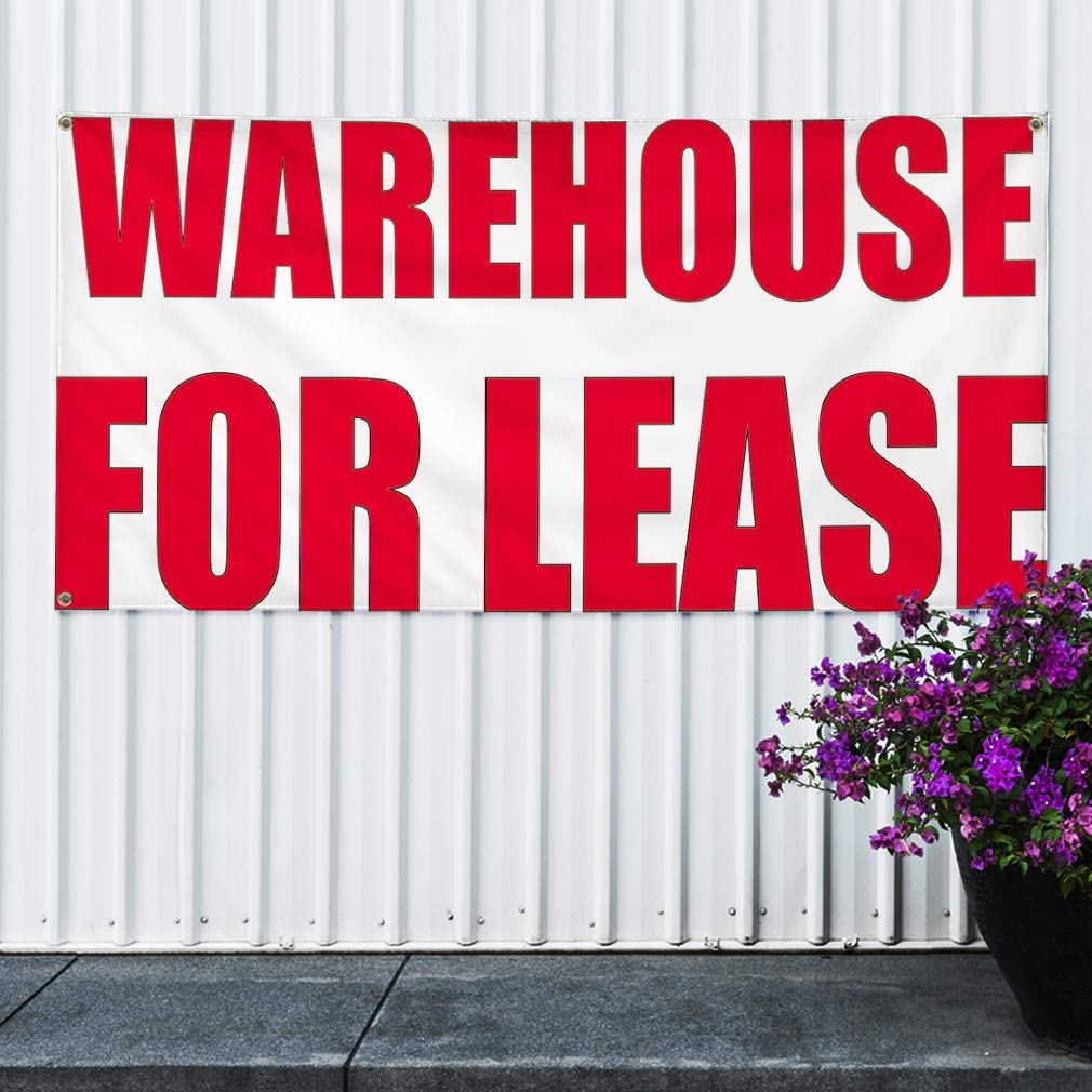Set of 2 Vinyl Banner Sign Warehouse for Lease #1 Business Lease Marketing Advertising Red Multiple Sizes Available 28inx70in 4 Grommets