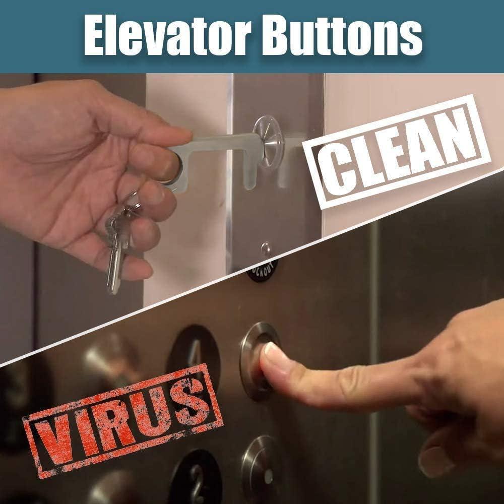 Porte-cl/és portable sain sans contact Gardez la main propre Ouvre-porte sans contact et bouton d/'ascenseur couleur dor/ée, 3 pi/èces Outil EDC