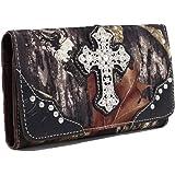 Emperia Women's Ashley Mossy Oak Cross Tri-Folded Wallet with Rhinestones
