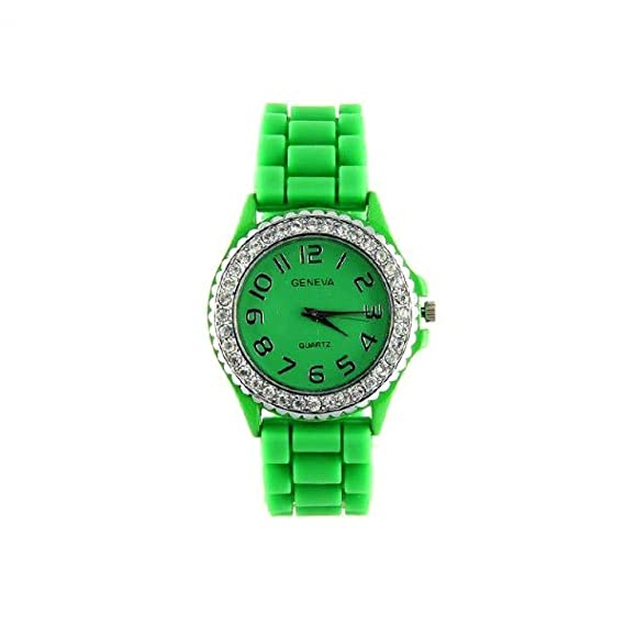 Geneva 3700915501049 - Reloj, correa de silicona color verde