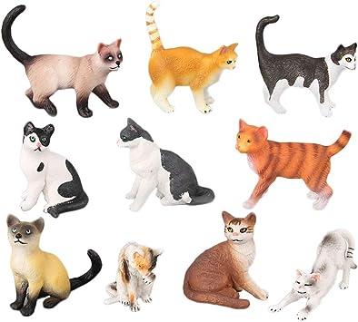 STOBOK 10 unids Figuras de Gato Juguetes para Gatos Surtidos Figura Animal en Miniatura Kitty Paisaje Ornamento Decoraciones Gato Chica Figuras de Juguete para niños Niños Niñas niños: Amazon.es: Juguetes y juegos