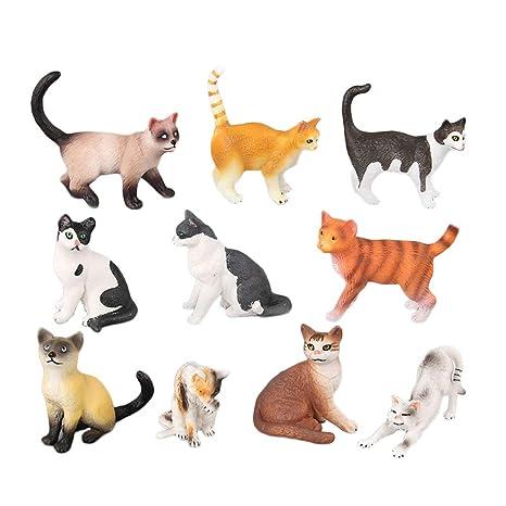 STOBOK 10 unids Figuras de Gato Juguetes para Gatos Surtidos Figura Animal en Miniatura Kitty Paisaje