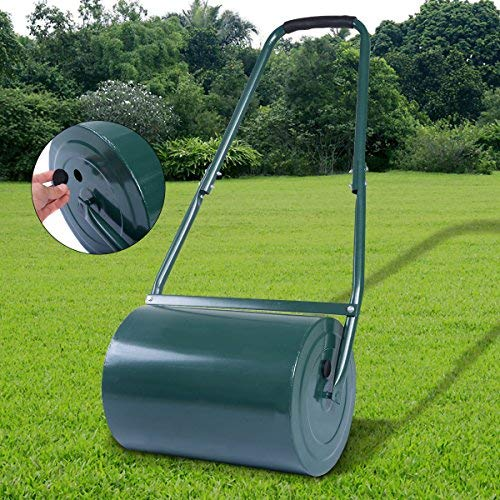 Fill with 45kg Sand or 30kg Water Galvanized Steel Heavy Duty Garden Grass Roller 30 L Padded handle COSTWAY Green Lawn Roller