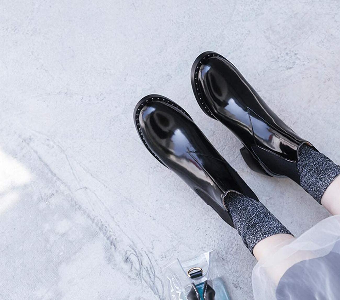 DANDANJIE Female Martin Boots Autumn Winter British Style Fashion Black Booties
