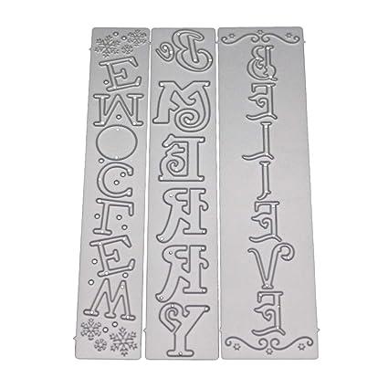 Kuizhiren1 Molde de troquelado, letras de metal troquelado, bricolaje, plantilla para repujado,