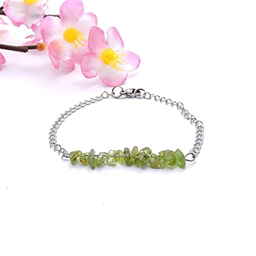 Bracelet chaine argent, bijou peridot, bijou yoga, bracelet pierre verte,  bijou simple