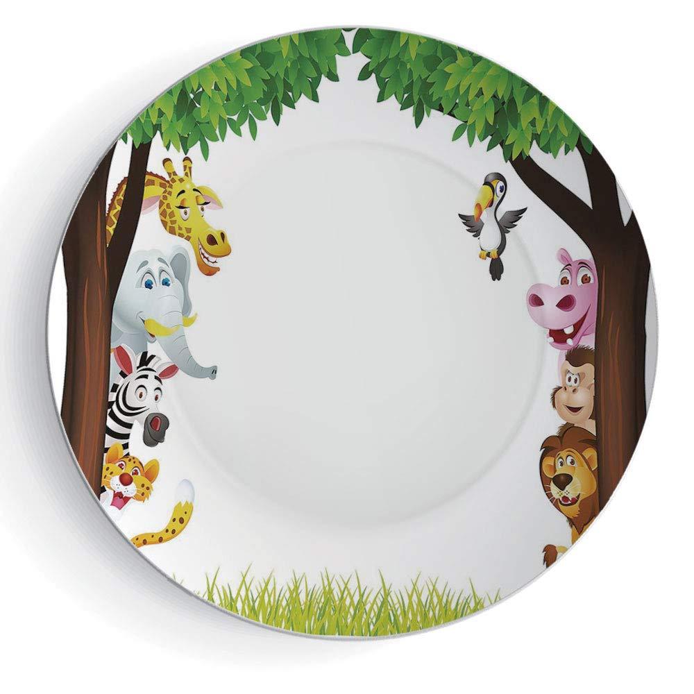 iPrint 8'' Decorative Ceramic Plate Nursery Round Big Trees and Friendly Jungle Safari Animals Wilderness Tropical African Wildlife