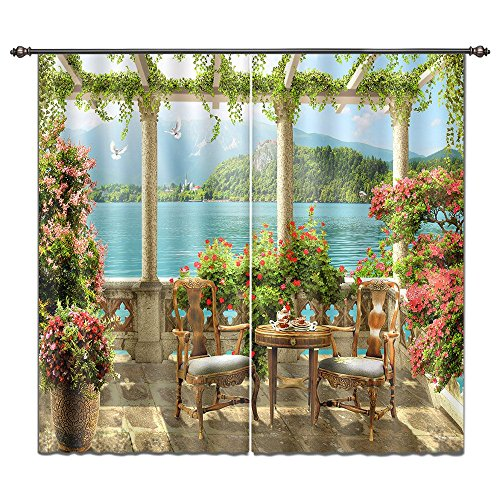 LB European Garden by Lake Mountain 3D Window Curtain Drapes, Summer Scenery Scenic Living Room Curtain, Machine Washable Window Treatment Panels, 84x84 Inches (2 Panels Size), Green