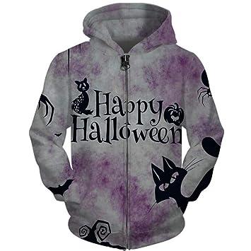Ai Ya-weiyi Feliz Halloween Zipper Sudaderas 3D Impreso Animales Ardilla Sudaderas Fox Mujeres Y