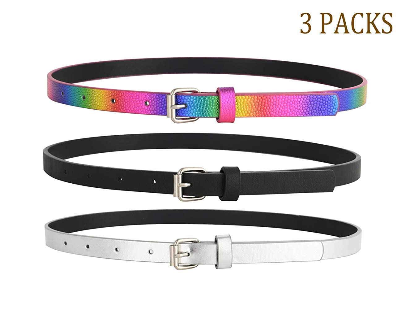 Belts for Girls 3 Pack Teen Kids Belt Girls Fashion PU Leather Patent Belt Fit Pant 21-30
