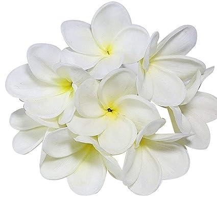 Winterworm Ramo de 10 flores de poliuretano de tacto real realista hawaianas artificiales Plumeria Frangipani sin