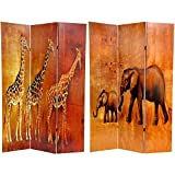 ORIENTAL FURNITURE 6 ft. Tall Giraffe & Elephant Double Sided Room Divider