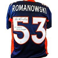 $135 » Bill Romanowski Autographed Pro Style Blue Jersey W/SB Champs- JSA W Auth Black