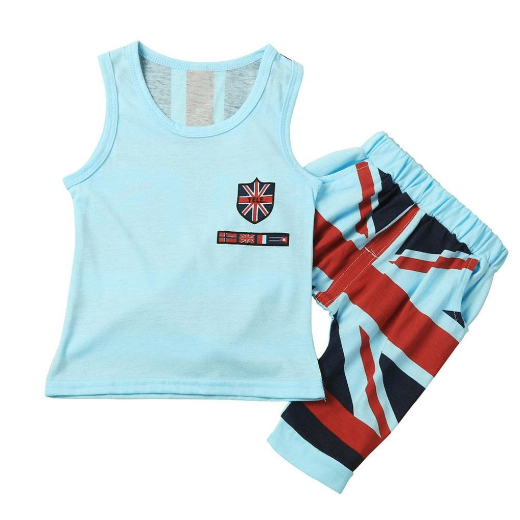 a3d19401a038 2PC Fashion Kids Baby Boys Union Jack Print Outfits Sleeveles Vest Tops  Pants Set Clothes  Amazon.co.uk  Clothing