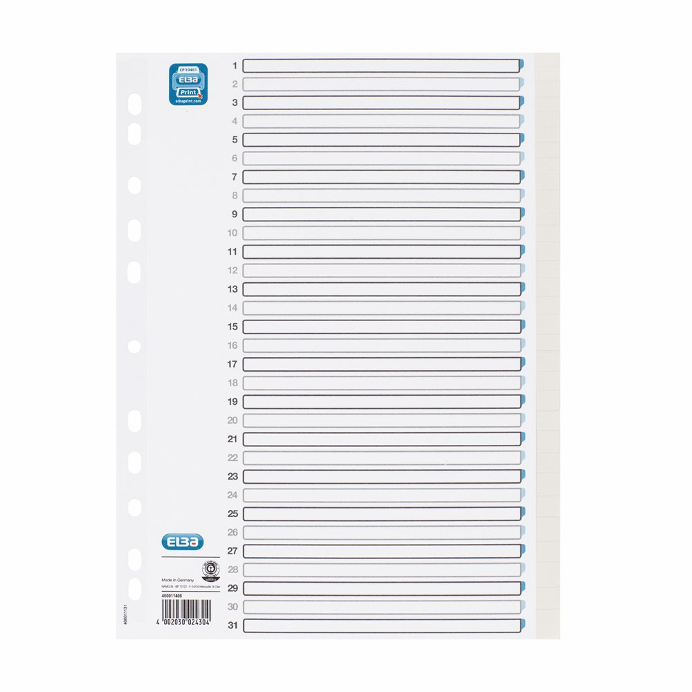 ELBA 400011408 Tauenpapier-Register f/ür DIN A4 25er Pack blanko 31 Taben 31-teilig hellgrau Karton Ringbuch Ordner Ring-mappe Ringbuch Hefter Blauer Engel