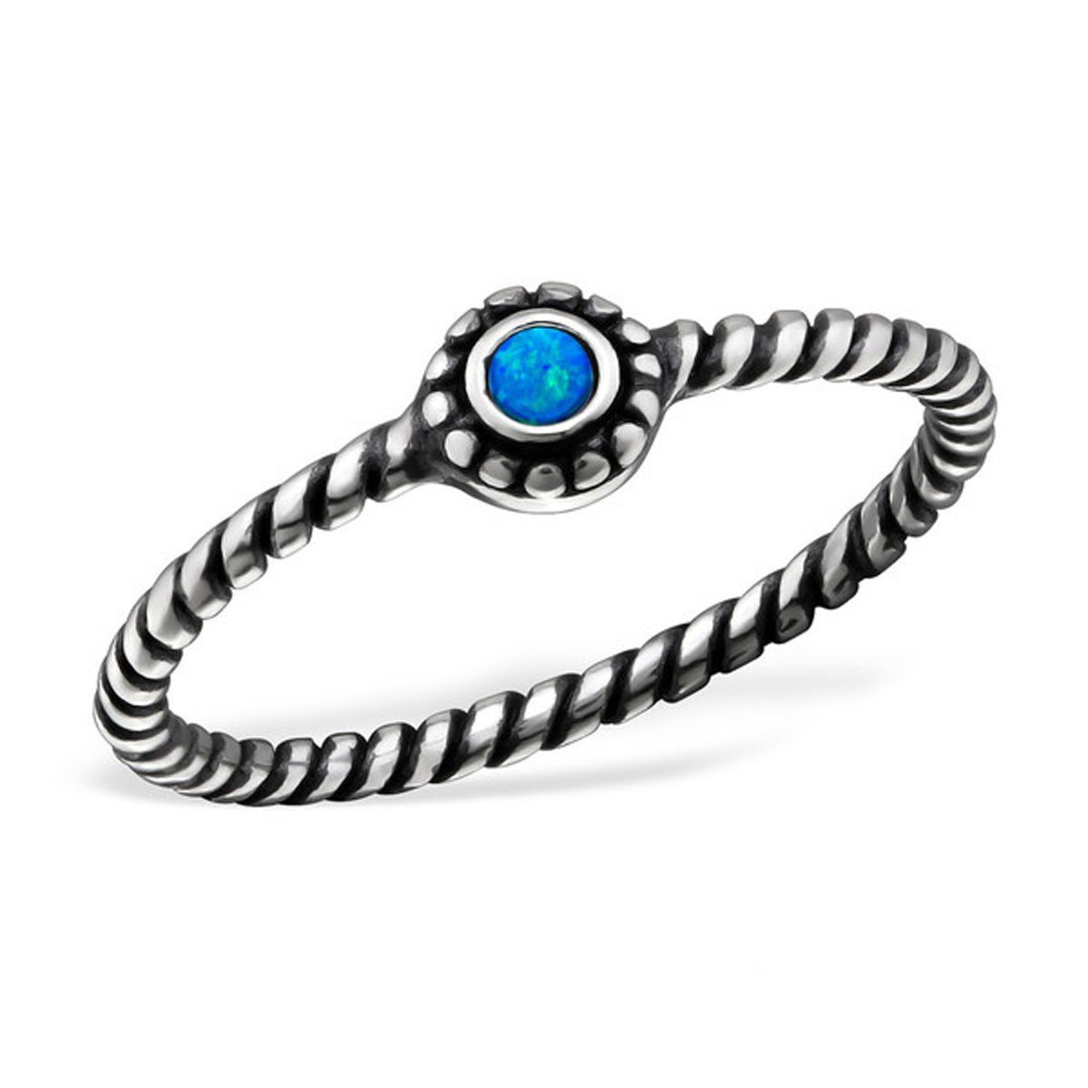 Lab Created Opal Blue Midi Knuckle Ring Sterling Silver 925 Summer Boho US Size 3.5 (PACIFIC BLUE/27721)