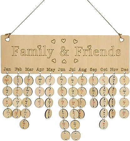 0.5 cm 14 42 couleurs mixtes M-PENG Calendrier danniversaire familial en bois /à suspendre avec 100 disques en bois