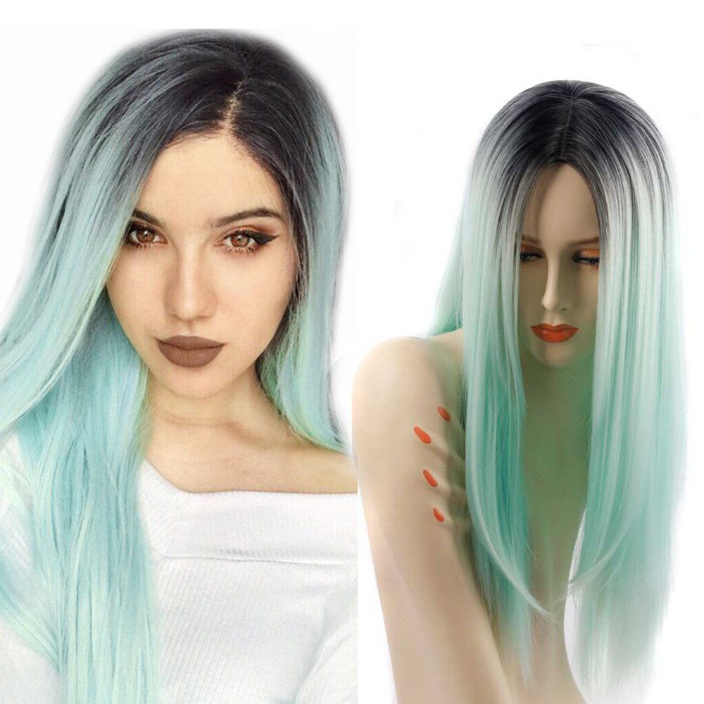 ZingSilky Synthetic wigs Light blue Ombre High temperature fiber Wigs for Black Women Long Straight Dark Roots (26inch, 1B#/Light blue)