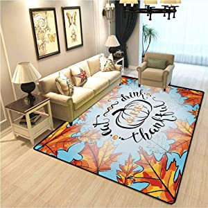 Quote Decor Nursery Rug Eat Drink and Be Thankful Quote for Thanksgiving with Fall Leaves Living Room Carpet,Indoor-Outdoor Carpet Sky Blue Dark Orange and Black W6.5xL8 Ft
