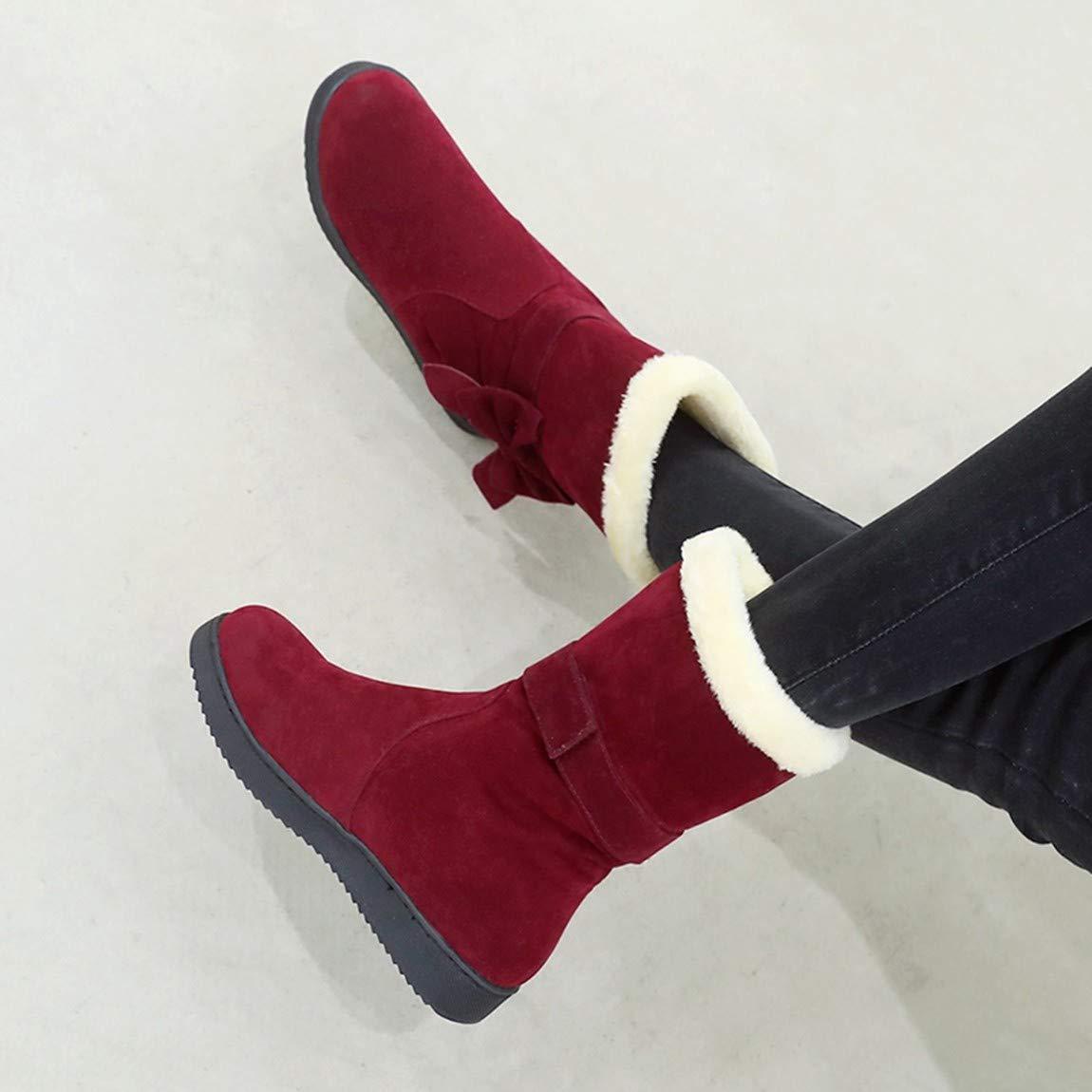 Cute girl Koreanische Version Von Herbst Und Winter Schnee Stiefel Weiblich Runder Kopf Stiefel Damen Scrub Wilde Baumwolle Größe'S Code Bug Frauen Stiefel Rot