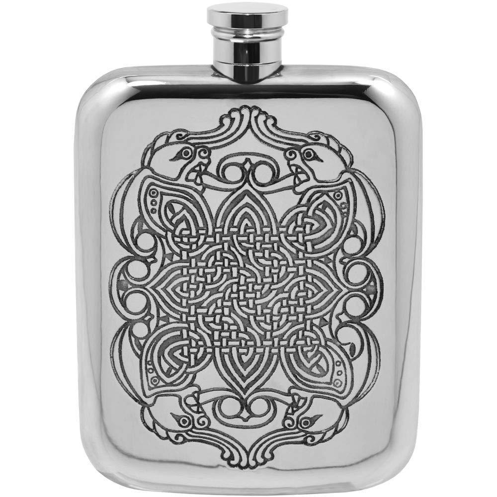 English Pewter Company 6oz Celtic Liquor Hip Flask [CEL126] by English Pewter Company Sheffield, England