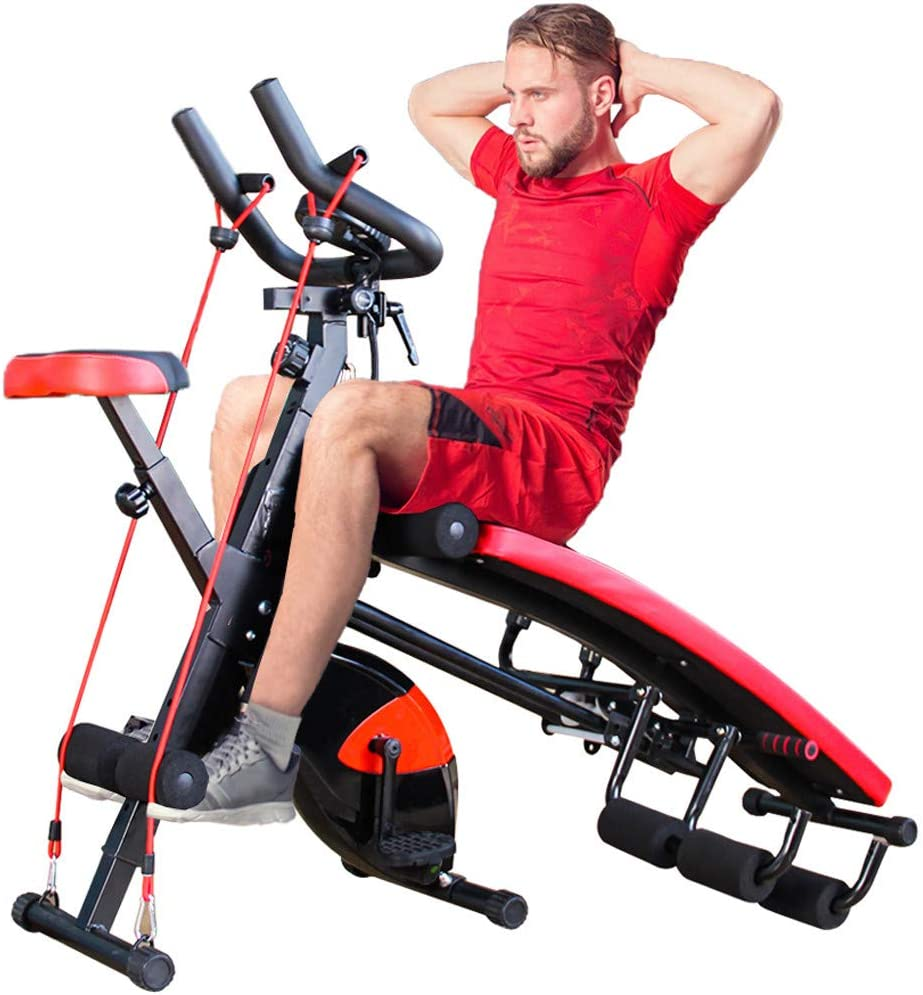 Vdaye All-in-One Fitness Equipment,Indoor Home Cycling Bike Abdominal Trainers Push Ups Abdominal Twister Trainer Ab Rocket Exerciser Crunch Beauty Sit-up Exercise Abdominal Workout