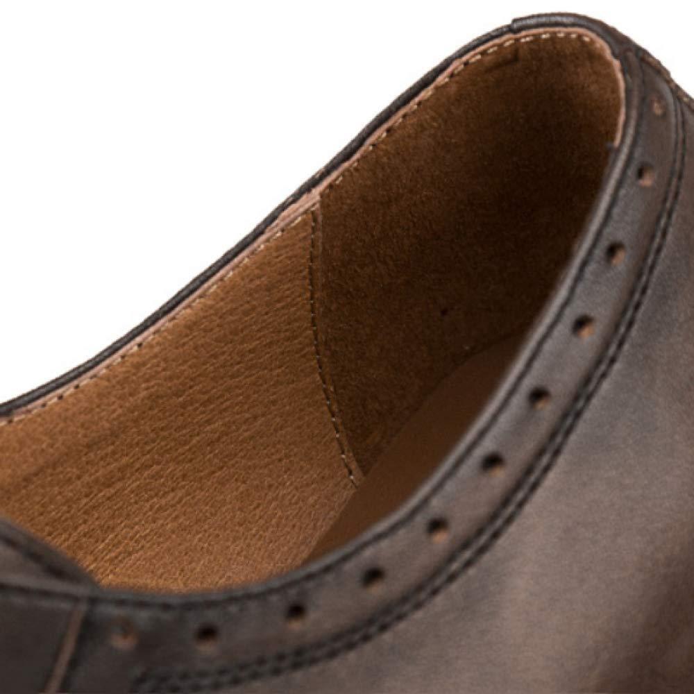XDLJL Hand gebürstete Geschnitzte Zufällige Lederschuhe Retro Wilder Runder Haupt England Retro Lederschuhe  Große Schuhes WineROT aedd53