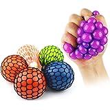 Boule élastique en maille de nouveauté pour anti-stress Squeeze Bouteille de raisin pour soulager le jouet en boule de pression avec couleur aléatoire - 1 PCS (Couleur profonde aléatoire)