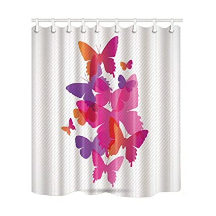 ChuaMi Butterfly Shower Curtain Fantasy Decoration 69 X 70 Inches Polyester Fabric Hooks