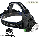 KOLPCTT Rechargeable Headlamp LED, 3 Modes Headlight, T6 Flashlight Headlamp, Battery Powered Helmet Light for Camping, Running, Outdoor fishing,hiking and reading, present a charger