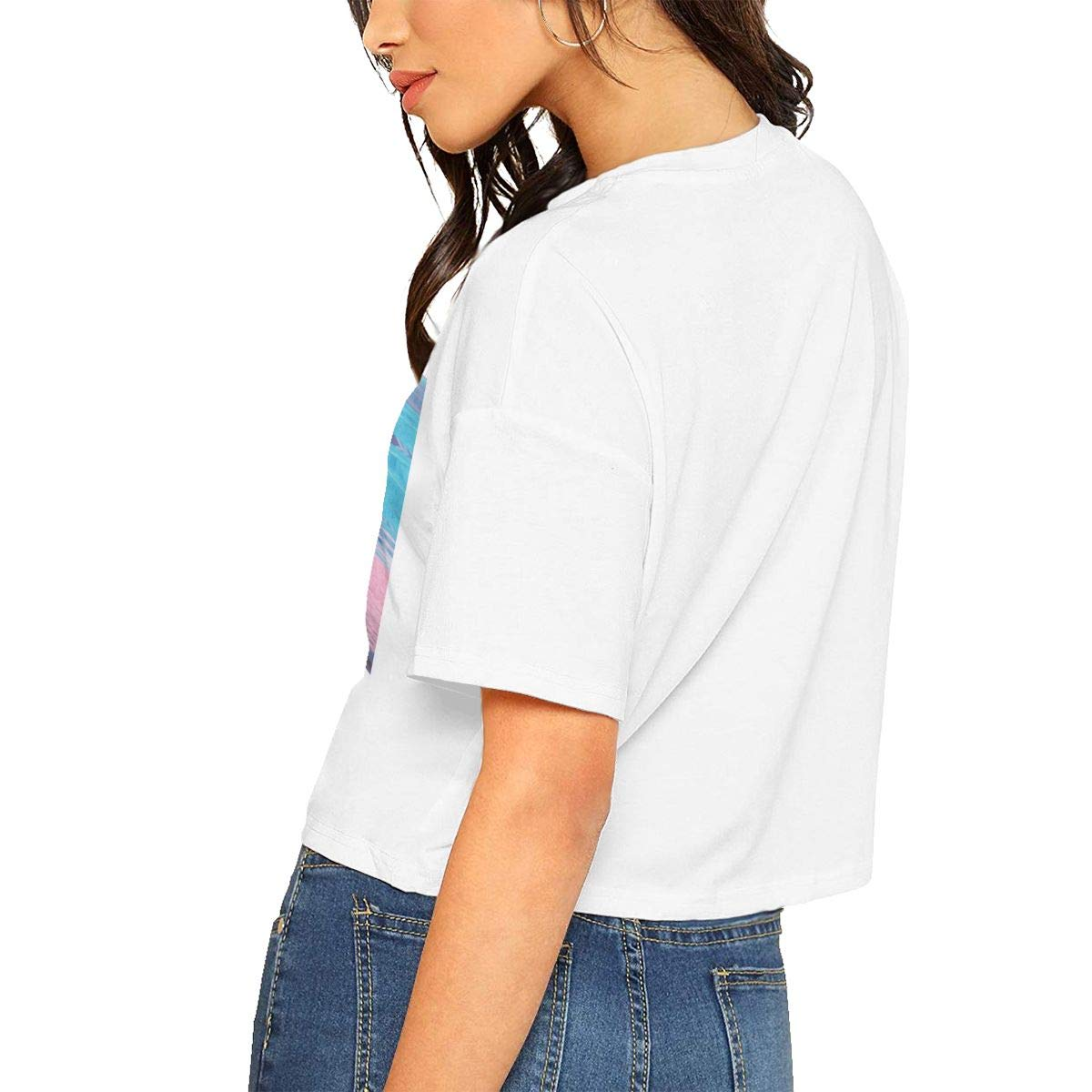 Chouven Women Crop Tops Halsey O-Neck Short Sleeve Tee Shirt