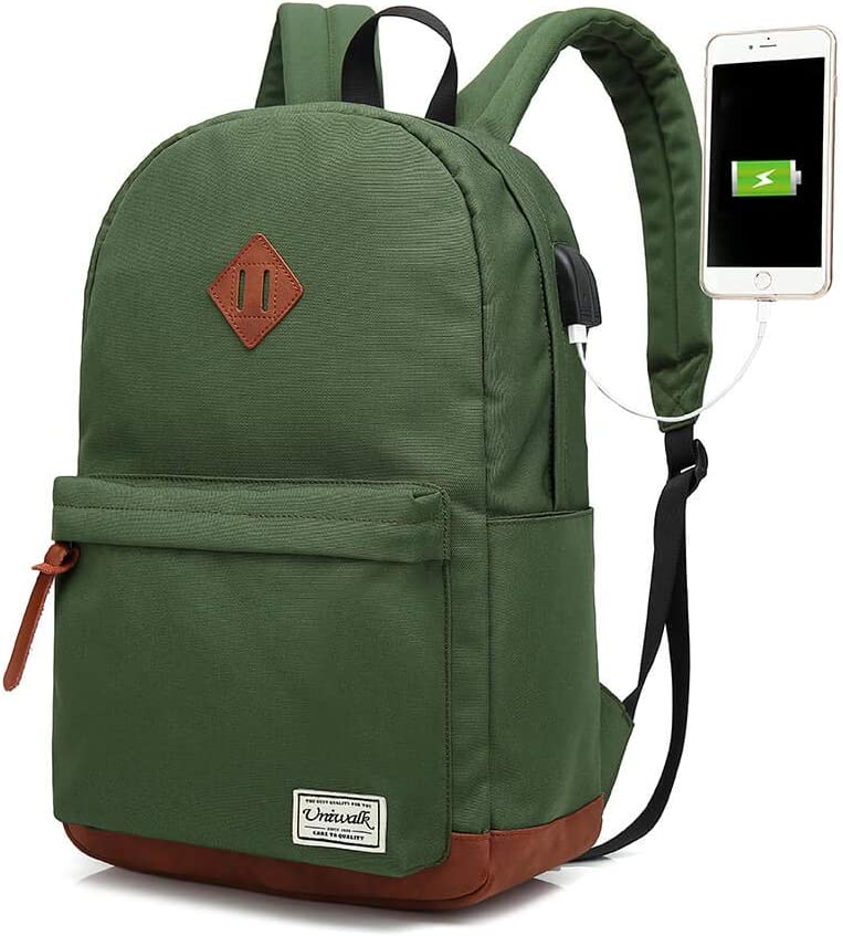 College Backpack, Water-resistent Laptop Backpack with USB Charging Port & Headphone Adapter for Men & Women, Slim Anti-Theft Travel Bookbags Fits up to 14'' Computer 15'' Macbook Green