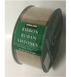 KIRKLAND SIGNATURE WIRE EDGED RIBBON 45.7M BROWN SHEER