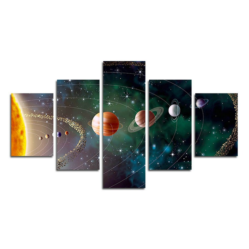 Leyrus 5 Piece Solar system, planets, Earth Sciences by satellite Cosmos silk Canvas posters, children bedroom decoration posters science (No Frame) Unframed far285 50 inch x30 inch