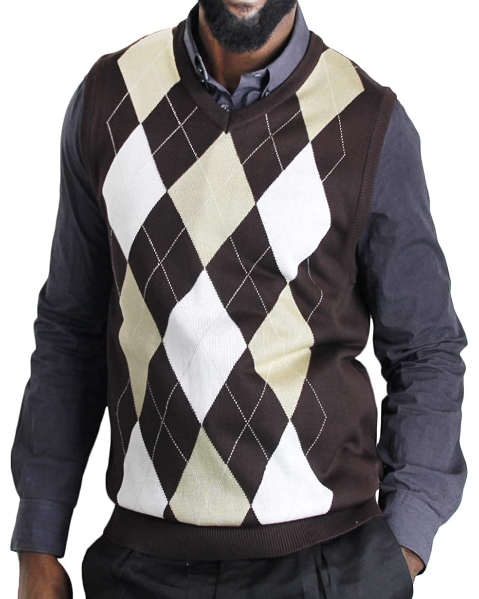 1920s Style Mens Vests Blue Ocean Argyle Sweater Vest $25.50 AT vintagedancer.com