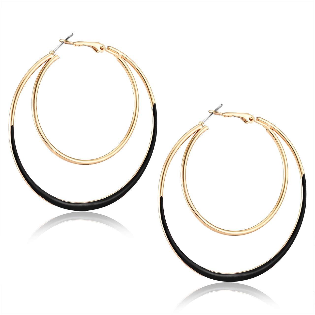 YOUMI Hoop Earrings for Women Statement Double Circle Earrings Geometric Glazed Layers Oval Drop Dangle Earrings