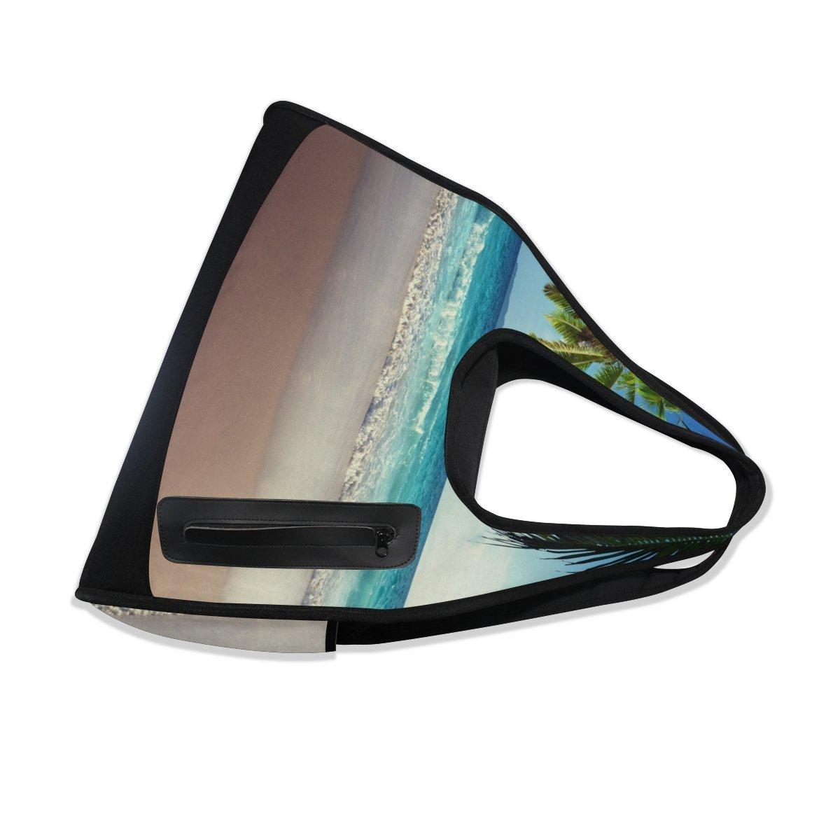 AHOMY Canvas Sports Gym Bag Palm Tree Beach Seawave Travel Shoulder Bag
