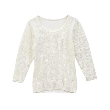 56ff38d3beaf8c Amazon   (ひだまり和) 健康肌着 レディスあったかインナー 長袖丸首 日本製   インナーシャツ 通販