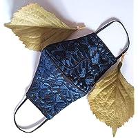 Increíble y elegante cubrebocas bordado artesanal | Tricapa | Lavables | Hechos a mano | Técnica Yucateca | Azul Marino